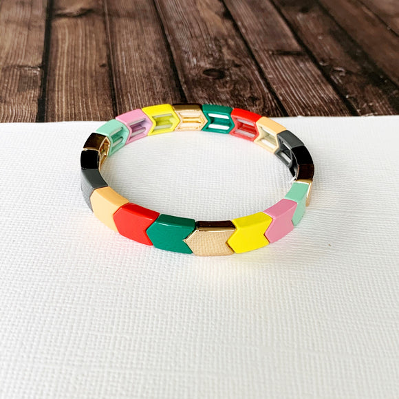 Boutique Bracelet Collection :: Jazmin Muted Rainbow Chevron Tile Bracelet