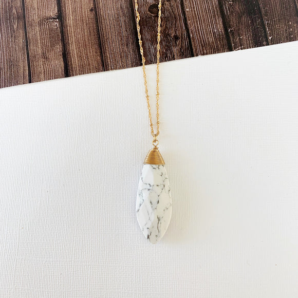 Spring Refresh Necklace Collection :: Amaya Howlite Dagger Pendant