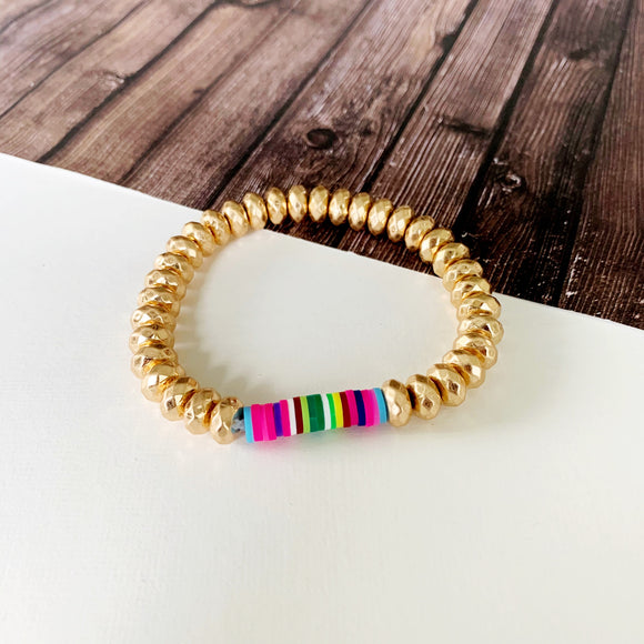 Beach Bracelet Collection :: Kilty Gold Ball Bead Bracelet with Neon Disc Accents