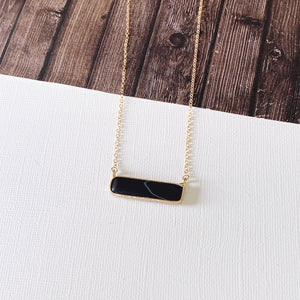 Baubles & Bits Boutique Collection :: Cara Black Howlite Bar Short Necklace