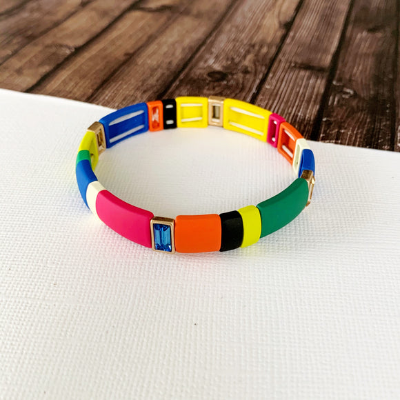 Boutique Bracelet Collection :: Lilith Multi-Hued Color Block Tile Bracelet