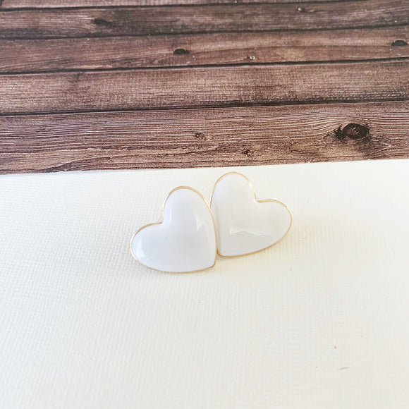 Baubles & Bits Boutique :: Emma White Enamel Heart Post-backs