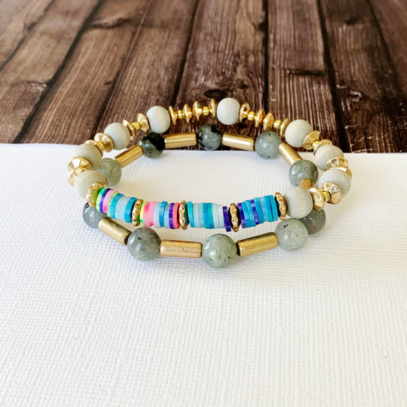 Beach Bracelet Collection :: Dulce Grey Stacking Bracelets