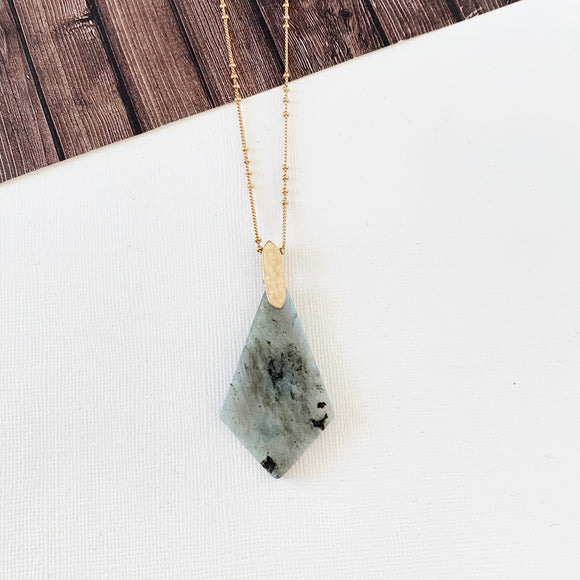 Spring Fever Necklace Collection :: Zion Grey Quartz Natural Stone Slice Pendant