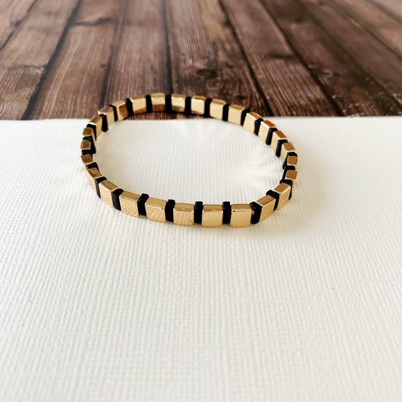 Boutique Bracelet Collection :: Vivian Gold & Black Tile Bracelet