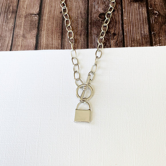 Baubles & Bits Boutique :: Lucia Lock Necklace - Silver