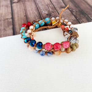 Boutique Bracelet Collection :: Sloan Multi Natural Stone Leather Wrap