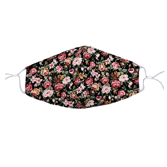 Reusable Face Mask :: Black Floral