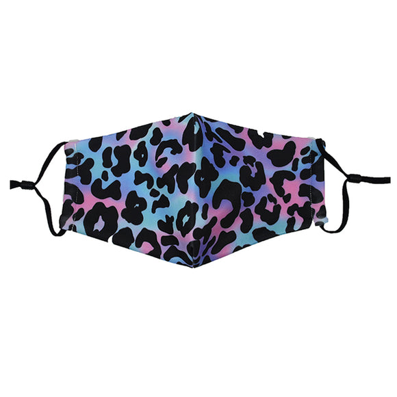 Reusable Face Mask :: Blue Leopard
