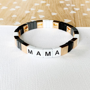 Boutique Bracelet Collection :: Mama Tile Bracelet Grey & Black