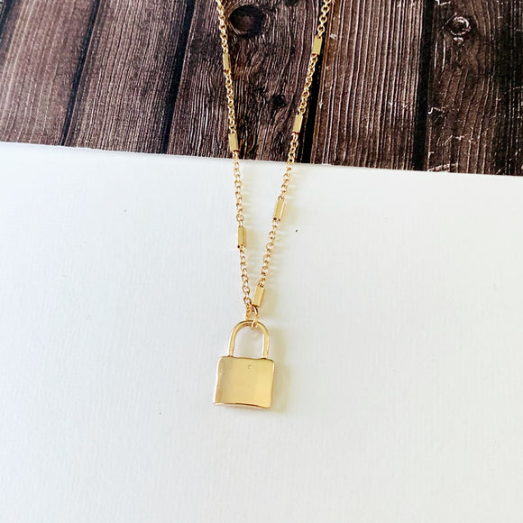 Baubles & Bits Boutique :: Priscilla Lock Necklace - Gold