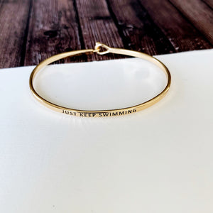 Boutique Bracelet Collection :: Eloise Just Keep Swimming Skinny Gold Cuff
