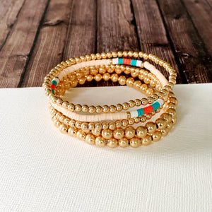 Boutique Bracelet Collection :: Cassie Matte Gold Ball Bracelets