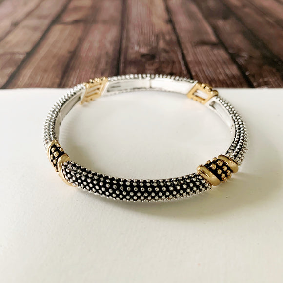 Mixed Metals Stretch Bracelet :: Salma Pebbled Gold & Silver