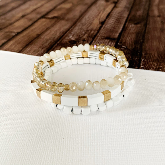 Boutique Bracelet Collection :: Meredith White & Gold Tile 3pc Set