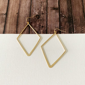 Mixed Metals Earring Collection :: Vickie Gold Open Diamond Drops