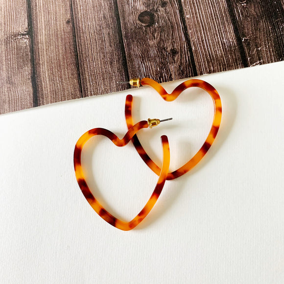 Hoopla Hoop :: Anne Lucite Heart Hoop Earrings - Tort