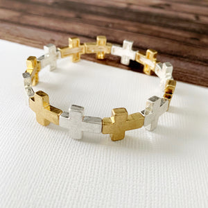 Boutique Bracelet Collection :: Tiana Mixed Metals Cross Bracelet