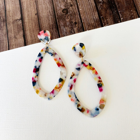 Watercolor Earring Collection :: Haisley Lucite Oblong Statement Drops