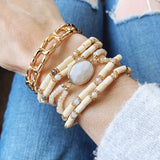Cable Bracelet Collection :: Penny Gold Link Stretch Bracelet