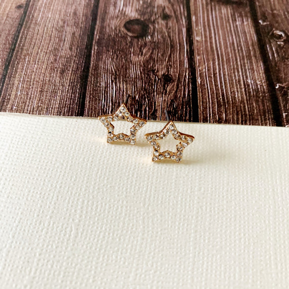 Sparkle & Shine Post-back Earring Collection :: Gold Paved Stars