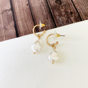 Hoopla Hoop Earring Collection :: Caroline Freshwater Pearl Dangle Petite Hoops