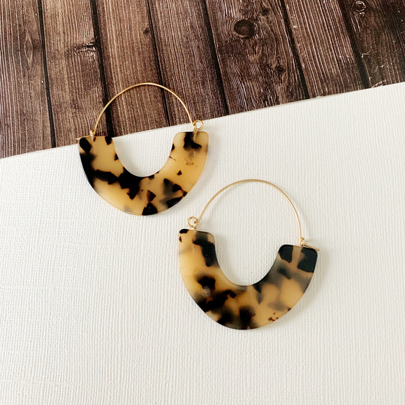 Baubles & Bits Boutique :: Kaelyn White Tort Half Moon Lucite Hoops