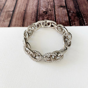 Cable Bracelet Collection :: Anna Silver Paved Link