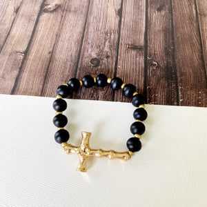 Boutique Bracelet Collection :: Haisley Black Sideways Cross Bracelet
