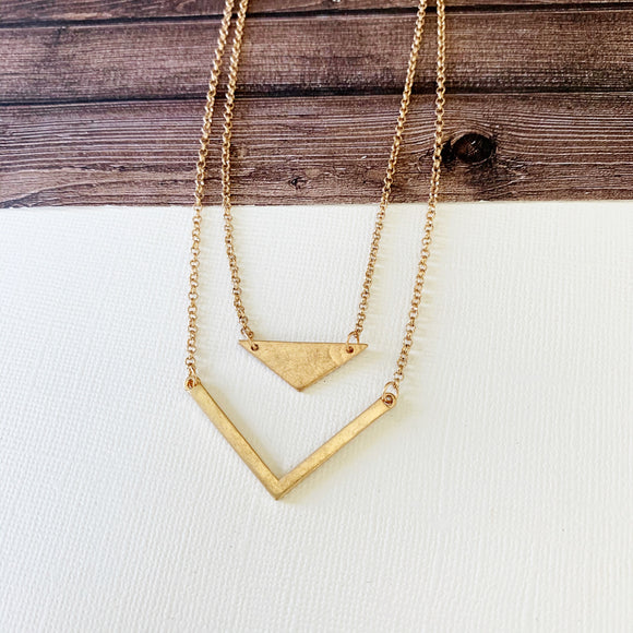 Layered Look Necklaces :: Aubrielle Chevron Layered Necklace - Gold