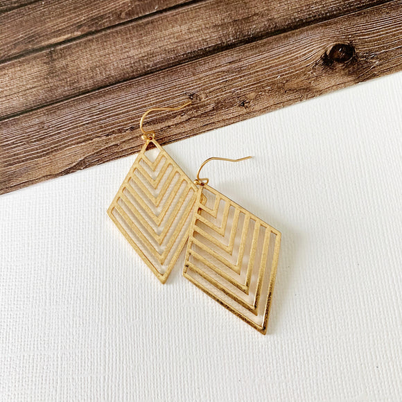 Mixed Metals Earring Collection :: Micah Gold Chevron Drops
