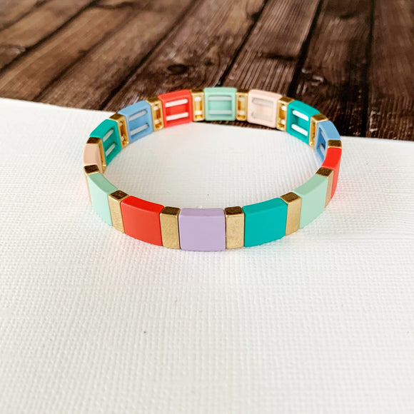 Boutique Bracelet Collection :: Melany Turquoise Color Block Tile Bracelet