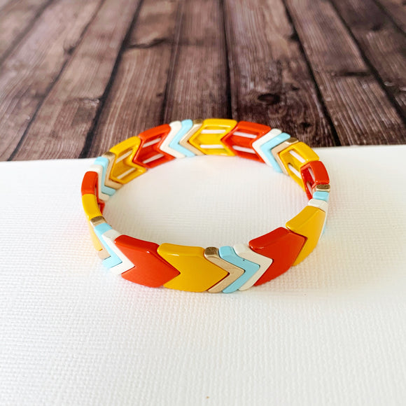 Boutique Bracelet Collection :: Lucy Tangerine Chevron Tile Bracelet