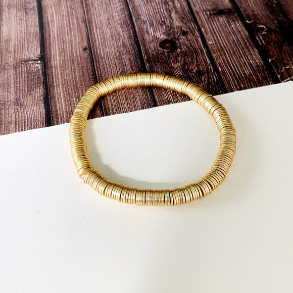 Boutique Bracelet Collection :: Peyton Gold Metal Disc Bracelet