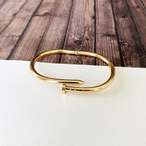 Cable Bracelet Collection :: Jill Gold Nail Hinge Cuff Bracelet