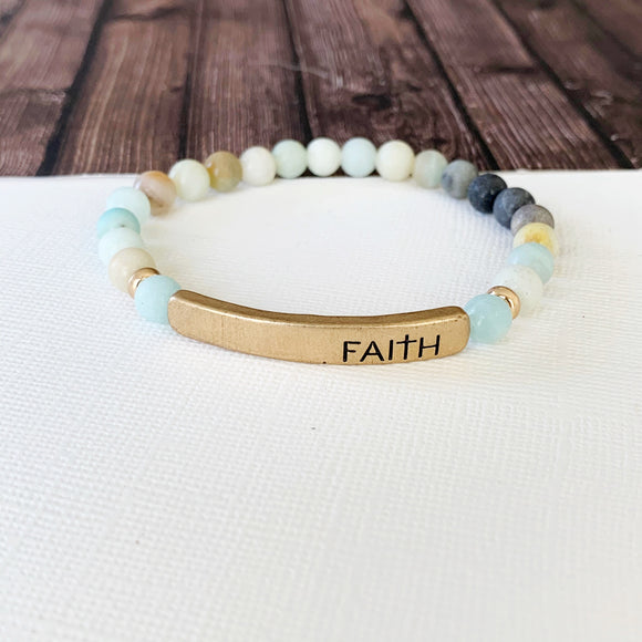 Boutique Bracelet Collection :: Faith Natural Stone - Amazonite