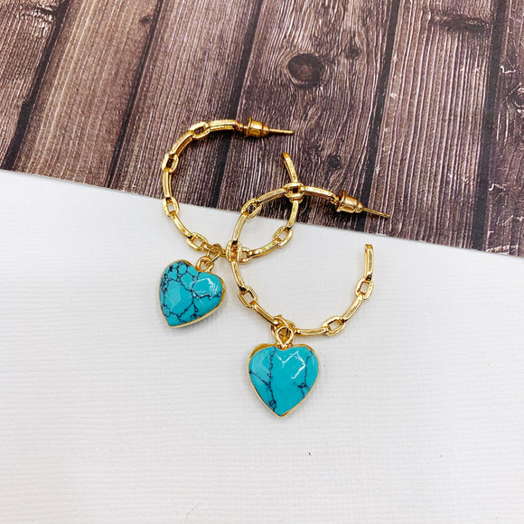 Hoopla Hoop Earring Collection :: Mabel Turquoise Heart Drop Chain Link Hoop Earrings
