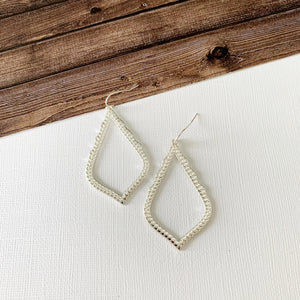 Mixed Metals Earring Collection :: Celine Silver Open Teardrops