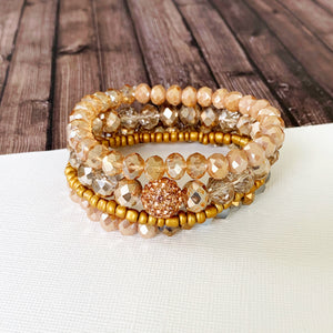Boutique Bracelet Collection :: Remy Champagne & Bronze Shimmer Quad