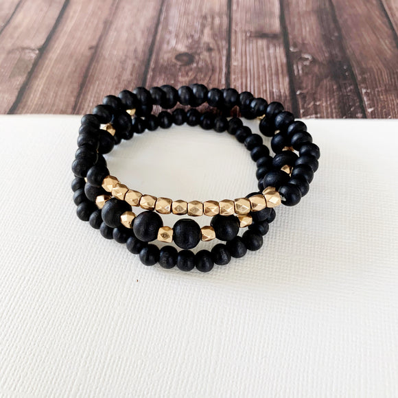 Boutique Bracelet Collection :: Holly 3pc Set - Matte Black & Gold Ball Bracelet