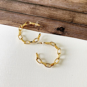 "Hoopla Hoop Earring Collection :: Skylar Gold 1"" Chain Linked Hoops"