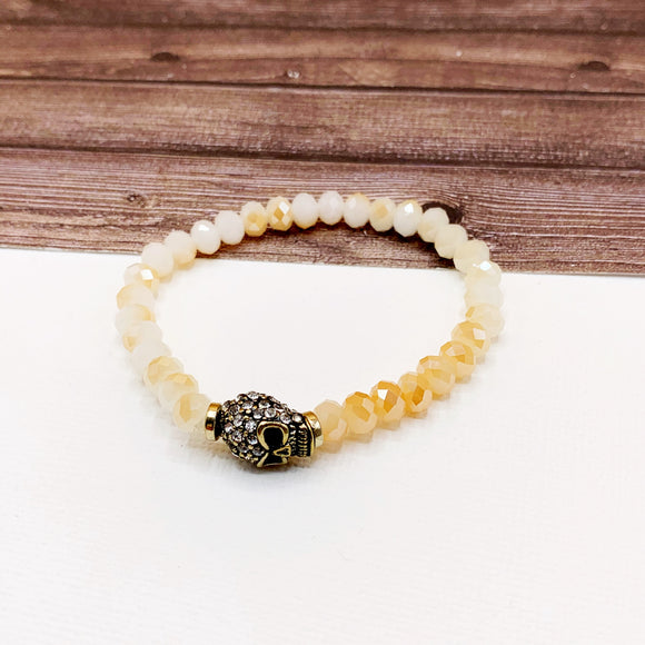 Boutique Bracelet Collection :: Paved Skull Chai Beaded Bracelet
