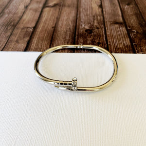 Cable Bracelet Collection :: Jill Silver Pave Nail Hinge Cuff Bracelet