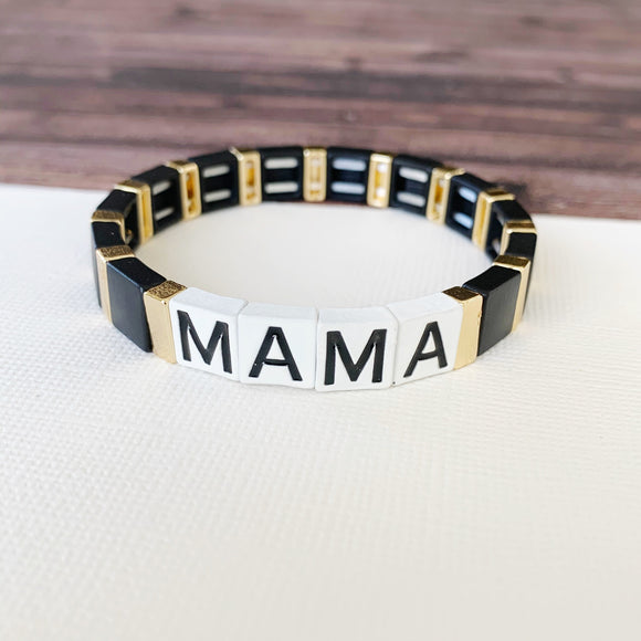 Boutique Bracelet Collection :: PRE-ORDER Mama Tile Bracelet Black