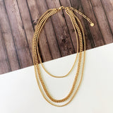 Baubles & Bits Boutique :: Heather Triple Chain Layered Look Necklace - Gold