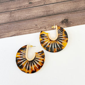 "Hoopla Hoop Earring Collection :: Lexey 1.5"" Lattice Tort Lucite Hoops"