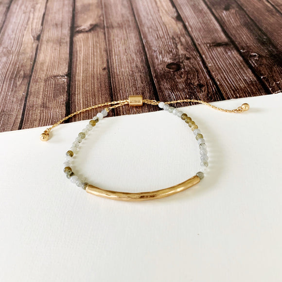 Natural Stone Slider Bracelet Collection ::  Kiwi Stone Gold Bar