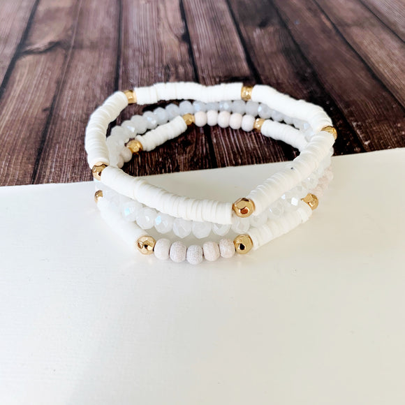 Boutique Bracelet Collection :: Emmie Clay and Crystal Bead Trio - White
