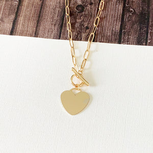 Baubles & Bits Boutique :: Heart Toggle Necklace - Gold