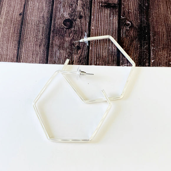 "Hoopla Hoop Earring Collection :: Kiana Matte Silver 2.5"" Hexagon Hoops"
